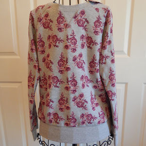Women's Floral Terry Crew Neck Sweatshirt GrayPink